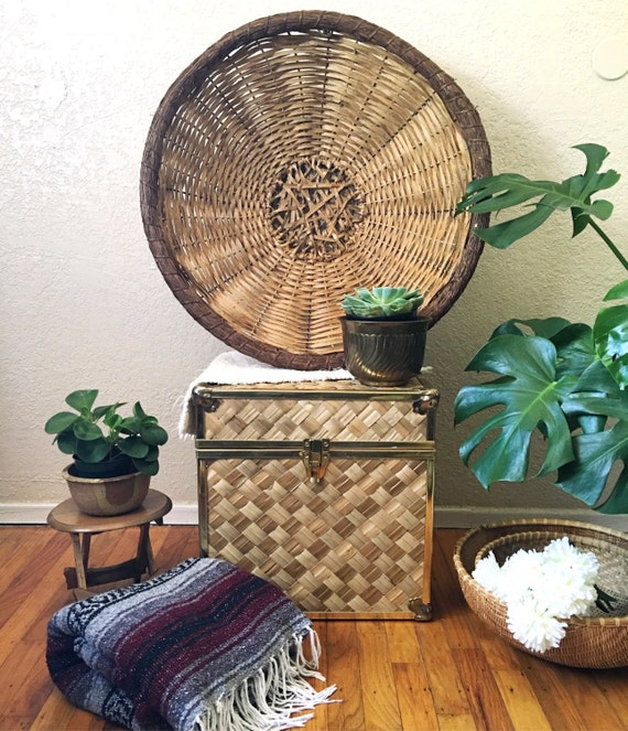 Rattan Wall Decor Round : Large round woven rattan basket wall hanging