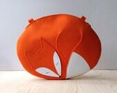 Fox Purse Orange Felt Sleeping Fox Bag