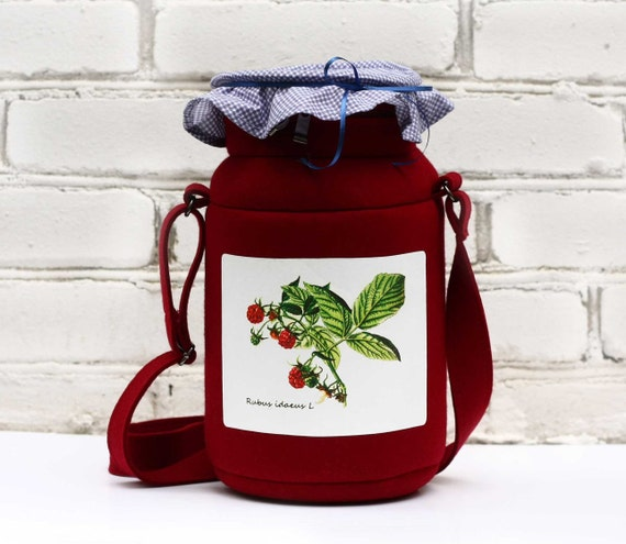 Raspberry Jam Jar Purse Raspberry Felt Bag