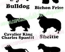 Medium Dog Silhouettes #2 Svg - Sheltie - Bulldog - Digital Cutting File - Instant Download - Graphic Design - Svg, Dxf, Jpg, Eps, Png