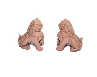 Foo Dogs Foo Dog Statues Pink Foo Dogs Foo Dog Figurines Soap Stone Foo Dogs Imperial Lions Chinoiserie Asian Chinese Decor