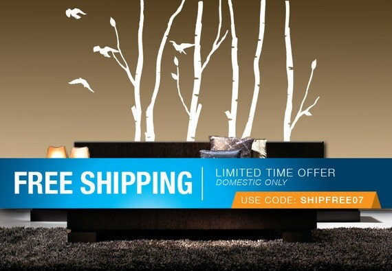 BIRCH TREES Vinyl Wall Decal Sticker, Nature, Self-Adhesive, Multiple Colors