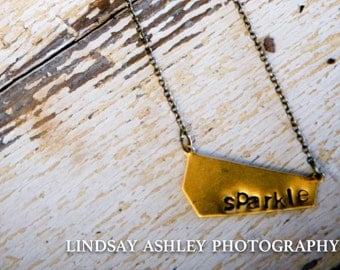 Sparkle metal stamped necklace
