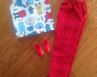 Handmade Casual Outfit for Barbie - Red