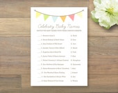 INSTANT DOWNLOAD - Baby Shower Game - Celebrity Baby Names, Gender Neutral, Bunting Baby Shower