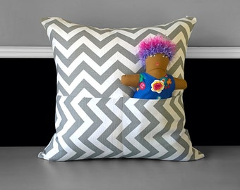 "Pocket Pillow Cover - Grey Chevron 20"" x 20"""