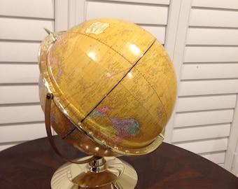 World Globe Topical Crams 12 inch swivel world travel goldtone metallic look plastic base imperial