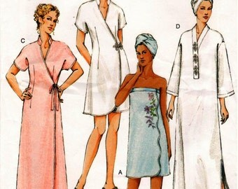 UNCUT Vogue Pattern V7917 - Misses Easy Robes, Shower Wrap, Head Wrap and Slippers - Spa Wear - Poolside - Beach - Loungewear - XS-M