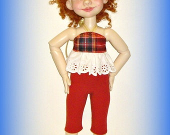 Red Plaid Top, Capri Leggings for Duda, Handmade Doll Clothes by traveller240, for 19 inch Trinket Box Kids BJD by Kimberley Arnold