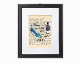 A dream is a wish Cinderella quote dictionary print-Cinderella print-Nursery print-Cinderella book page-fairy godmother print-NATURA PICTA