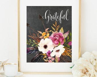 Grateful Print, Unique Gift Idea for Her, Gift for Mom, Home Office Decor, Tribal Wall Art, Fall Home Decor, Feathers Flowers Chalkboard Art