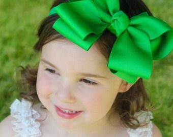 Big Green Bow Headband - Big Baby Headband - XXL Baby Bow - Green Bow