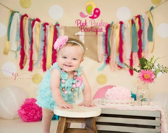 Aqua & Pink Baby Romper Baby Girl Rompers -  Sweet Shop Birthday 1st Birthday Outfit - Cake smash Outfit - Baby Girl Clothes - Baby Romper