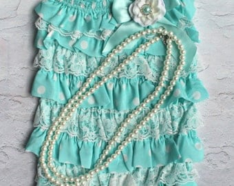 Baby Girl 1st Birthday Outfit - Aqua Polka Ruffle Romper -Baby Girl Rompers -Ruffle Rompers - 1st Birthday Outfit - Baby Romper Lace Rompers