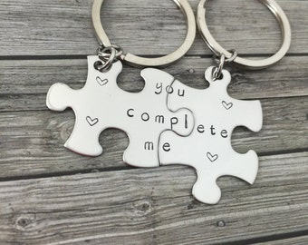 You Complete Me Couples Keychains, Couples Gift, Stainless steel puzzle piece keychain set, heart, keychain set, hand stamped keychains