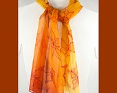 """Silk scarf handpainted. Friday SALE. Ombre Silk Scarf. Hand painted silk scarf. 10""""x58"""" Orange silk scarf. Handpainted silk scarves."""