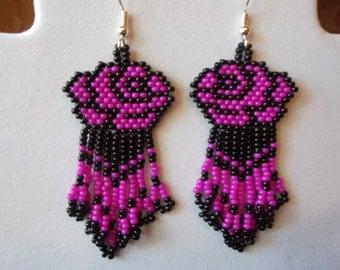 Beautiful Native American Style Beaded Black and Bright Hot Pink Rose Flower Earrings Southwestern, Boho, Peyote Brick Stitch Ready to Ship