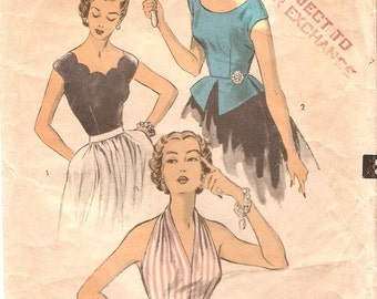 Glam Vintage 1950s Advance 6085 Fitted Halter or Cap Sleeve Blouses Optional Scallops and Peplum Sewing Pattern B30
