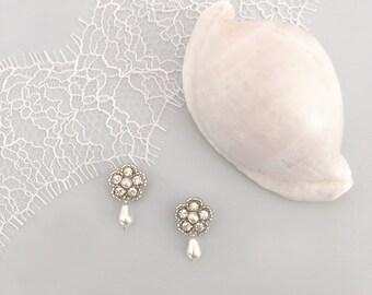 Pearl flower drop earrings, Pearl flower crystal leaf wedding earrings, flower bridal earrings