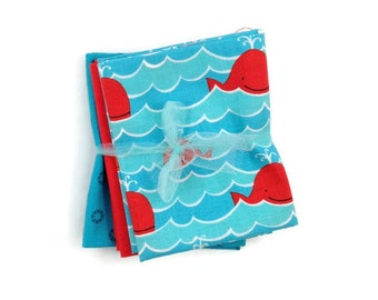 Blue Whale Fabric Bundle Fat Quarter Fabric By The Yard