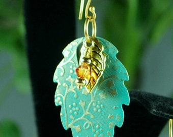 Gorgeous dangling textured leaves with Swarovski crystal and vermeil