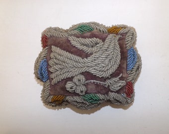 Antique Victorian Iroquois Indian Native American large beaded velvet pin cushion pillow