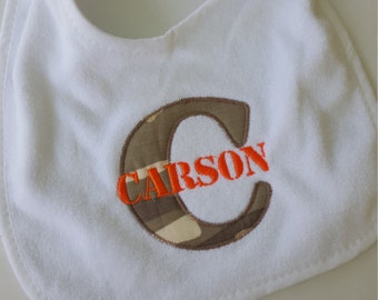 Camo Applique Letter Bib- Military font- customized-monogram-Baby gift- embroidered - toddler bib-terry cloth