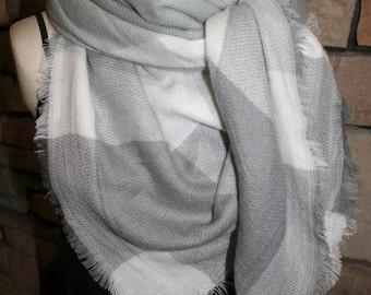 Blanket Scarf Plaid Gray Plaid Tartan Wrap Shawl Zara Scarves Zara Style Plaid Blogger Fav-Accessories