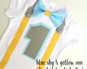 1st Birthday Boy Onesie Blue, Yellow and Grey Bow Tie Onesie All In One One Piece Bodysuit Birthday Party