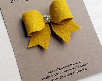 Felt Hair Bows,Gold Felt Bow,Bow Hair Clip,Fall Hair Bow,Wool Felt Bow,Toddler Girls,Gold Glitter Hair Bow,Tails Down Bow