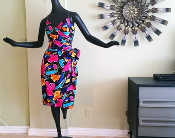 Vintage 80s Party Dress Strapless Bustier Wrap Around Sarong Hawaiian Bombshell Wraparound Ruched Rhinestone Bow 1980s Size Large A. J. Bari
