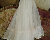 Vintage Pink Half Slip /  Petticoat / Under Skirt / Slip Skirt / Underskirt Bridal Gown / Halloween Costume / Dotted Swiss / Sock Hop