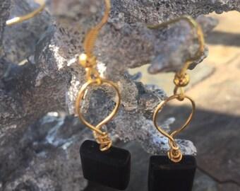 Black glass beaded earrings