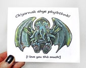 Cthulhu Card, I Love You THIS Much, HP Lovecraft, Fantasy Art, Anniversary Card, Valentines Day, Blank Card, Custom Card, R'lyehian