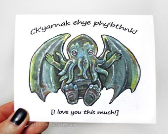Cthulhu Card, I Love You THIS Much, HP Lovecraft, Fantasy Art, Personalized Anniversary Card, Funny Card, Blank Card, Custom Card, R'lyehian