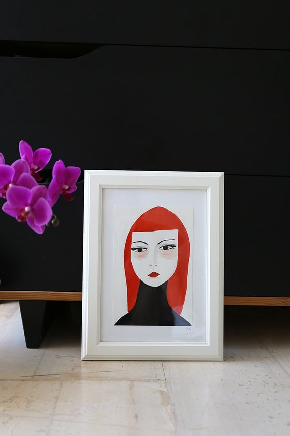 Portrait Illustration - Original Gouache Painting - Framed Female Portrait - Woman - Tempera - Contemporary Art - Femme Fatal IV