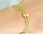 Peridot Bracelet, August birthstone Bracelet, Green Stone Bracelet, Gift For Her, Peridot Gold Bracelet