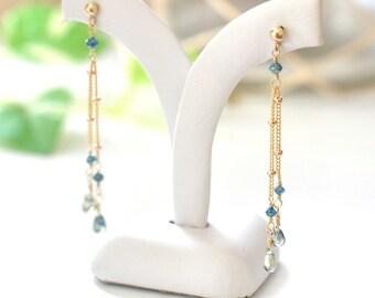 Blue Diamond & Green Sapphire Earrings in 14K Yellow Gold , Delicate Diamond Earrings, Delicate Gold Earrings, Blue stone Jewelry, 14KYG