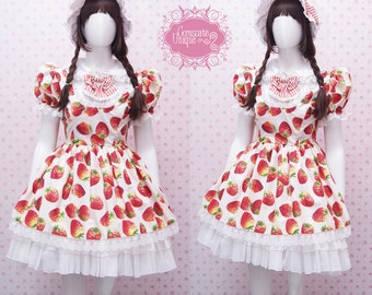 Kawaii Strawberry Dress with White Chiffon Ruffle Skirt and Lace - Strawberry Shortcake Dress - Sweet Lolita Dress -Custom to your size