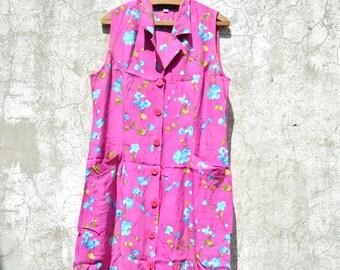Vintage dress , bright colors, size M, boho chic, country chic, vestito vintage, 80s,woman, FLOWERS DRESS