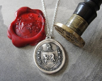 From Possibility To Actuality wax seal necklace rampant lion - antique wax seal charm jewelry Latin crest by RQP Studio