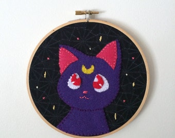 Sailor Moon Luna - Felt Wall Art Embroidery Hoop