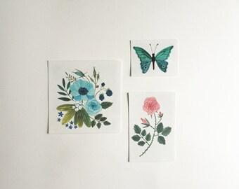 Set of 3 temporary tattoos