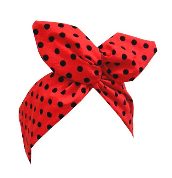 Red with black polka dot wire headband - hair wrap
