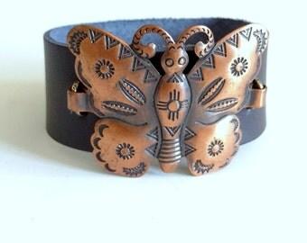 Butterfly Bracelet, Leather Bracelet, Snap Bracelet, Leather Cuff, Cuff Bracelet, Copper Jewelry,Recycled Jewelry,Upcycled Jewelry,Wholesale