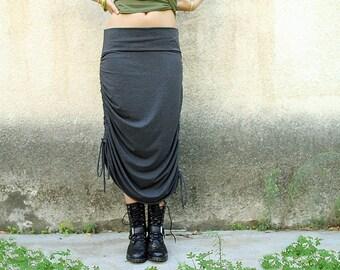 Adjustable skirt, Women skirt, Long skirt / Midi skirt, Grey skirt, Convertible skirt, Jersey skirt, Cotton skirt