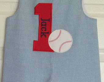 Boys First Birthday Baseball Shortall Longall Jon Jon Romper Baseball Party Outfit  Applique Monogram