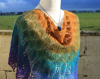 Royal Peacock Feathers Shawl - hand knit and hand spun