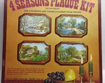 Vintage Currier & Ives 4 Seasons Decoupage Cunningham craft kit 1970