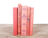 Old Books Vintage Books / Decorative Books / Vintage Mixed Book Set / Red Orange Books / Books by Color / Books for Decor Antique Books